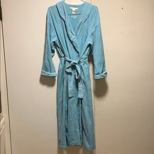 Eileen West Warm and Soft Blue Long Wrap Robe